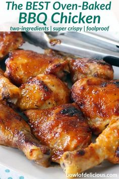 This oven baked bbq chicken recipe uses only TWO INGREDIENTS - barbecue sauce and chicken thighs and/or drumsticks (plus Oven Chicken Recipes, Baked Barbeque Chicken, Rotisserie Chicken, Grilled Chicken, Crispy Chicken, Chicken Back Recipe, Bbq Chicken Bake, Chicken Drummettes Recipes, Oven Dishes Recipes
