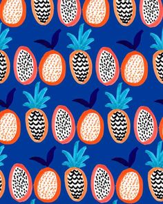 pineapple and pitaya royal blue background
