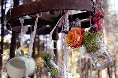 Erika & Eise's Wedding - hanging cutlery from trees together with small flower arrangements creates an earthy vintage vibe Small Flower Arrangements, Small Flowers, Wedding Themes, Wedding Decorations, Wedding Ideas, Wedding Table, Our Wedding, All Pictures, Erika