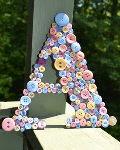Baby Shower- Button Letter- Personalized Letter- Nursery Decor- Girls Room- Wooden Letters- Pastel Buttons- Home Decor- Wall Hanging