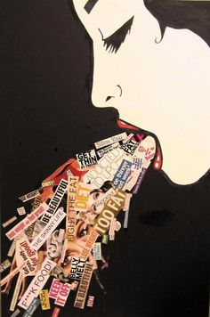 Collage: A work of art created by gluing bits of paper, fabric, scraps, photographs, or other material to a flat surface.