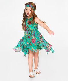 Look at this #zulilyfind! Green Floral Handkerchief Dress & Headband - Toddler & Girls #zulilyfinds