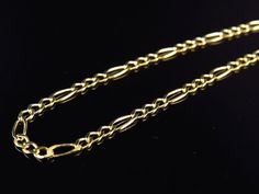 A straightforward look, wide necklace features figaro links chain with bright polished finish. Crafted in yellow gold, this chain is available in different lengths. Affordable Jewelry, Cheap Jewelry, Jewelry Ideas, Fine Jewelry, 24k Gold Chain, Swarovski Jewelry, Silver Jewellery, Silver Bracelets, Gold Diamond Earrings