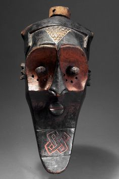 Congo, Biombo. This large wooden mask shows all the features belonging to the best-known type of Biombo carvings