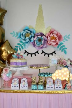 Take a look at the wonderful Unicorn Birthday Party! Love the dessert table!! See more party ideas and share yours at CatchMyparty.com #catchmyparty #partyideas #unicornbirthdayparty #unicorn #unicorndesserttable