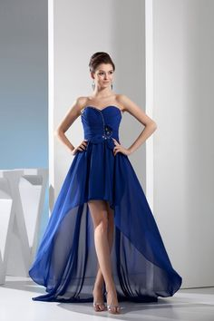 be12484316e Royal Blue Chiffon Sweetheart Hi-Low Prom Gown Evening Dress Formal Dresses  Adelaide