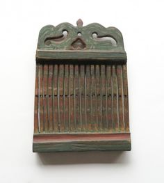 18TH CENTURY PAINT DECORATED TAPE LOOM WITH HEART CUT OUT