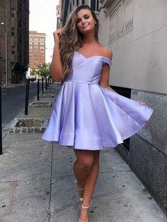A-line Off the Shoulder Lilac Short Prom Dress, Short Homecoming Dress, Satin Purple Party Dress Lavender Homecoming Dress, Simple Homecoming Dresses, Hoco Dresses, Dance Dresses, Simple Dresses, Cheap Dresses, Party Dresses, Graduation Dresses, Occasion Dresses