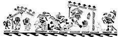 Dibujo estilo Línea Fina de ceremonia de cópula entre Cara Arrugada y una mujer. Colección Ganoza, Trujillo. Dibujado por Donna McClelland | Sexualidades Mochicas