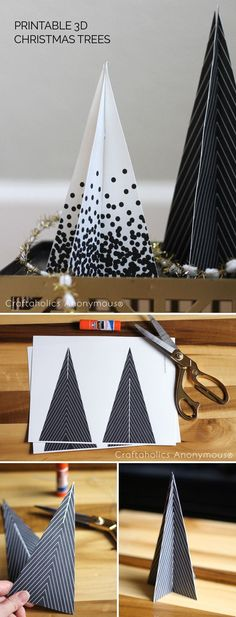 Free Printable Monochramtic black and white Christmas Trees. Add this to the mantel or a shelf! Easy Christmas Crafts idea.Paper craft DIY