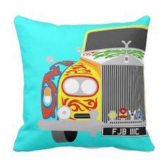 #Yellow Gypsy Caravan Rolls Royce phantom V Outdoor Pillow - customize unique idea