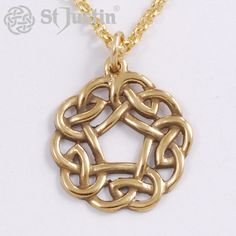Pentagon Knot Pendant. Bronze openwork Celtic knot on gold-plated trace chain. Product code: BZP03. Price: £20.42 (exc. VAT). Available: www.stjustin.co.uk - All products are handcrafted in the United Kingdom.