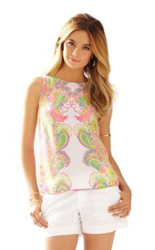 Iona Sleeveless Silk Shell - Lilly Pulitzer Hotty Pink Double Trouble Engineered