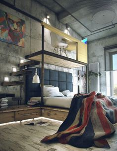 creative loft apartment, bedroom