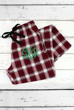 Garnet and White Plaid Flannel Pajama Pant #F20MW *Personalize It