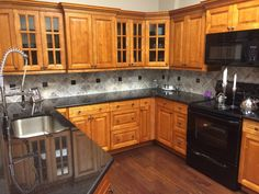 wood kitchen cabinets light cherry shaker kitchen Black Kitchen Glass Backsplash Black Kitchen Glass Backsplash
