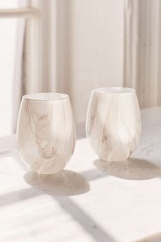 Slide View: 1: Marble Stemless Wine Glass Set