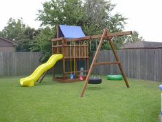 How to Build DIY Wood Fort and Swing Set Plans From Jack's Backyard. Learn how to build your own backyard wooden Triton playset with do-it-yourself swing set plans and save money. Backyard Playset, Backyard Playground, Natural Playground, Backyard Ideas, Outdoor Playset, Backyard Fort, Swing Set Plans, Swing Sets, Build A Playhouse