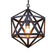 With a forged iron cage framing, this pendant features a black geometric cage with an Edison Bulb inside. The pendant light  will enhance your foyer, dining room, or living room with its linear sleek charm. This one light mini pendant can complement many loft, urban, industrial and transitional decors.