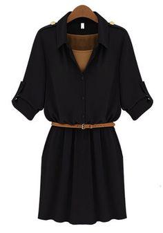 Black Belt Lapel Mini Cotton Dress
