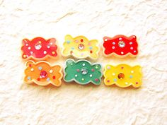 WHOLESALE  Kawaii Cabochons 6 Colorful Candies by DecoSweets, $2.75