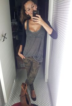 camo. one of my fave outfits on pinterest. i know it's just a plain ol' outfit but i just love the pants & the grey tank together with the cardigan.. it all goes so perfect together & it looks GREAT on her .