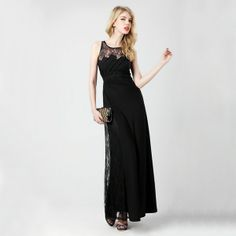 Splicing Lace Slim Fit High Waist Black Sleeveless Evening Dress