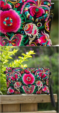$32.00 - An Embroidery Wristlet Clutch is now available at Pasaboho. ❤️  Inspired by the boho chic style trend. Fashion trend and styles from hippie chic, modern vintage, gypsy style, boho chic, hmong ethnic, street style, geometric and floral outfits. We Love boho style and embroidery stitches. Hippie girls with free spirit sharing woman outfit ideas and bohemian clothes, cute dresses and skirts.