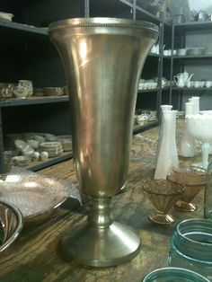 large silver vase from sisters vintage
