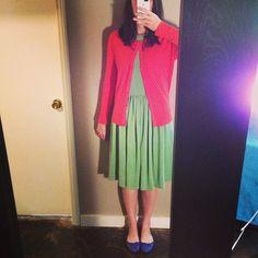 #howistyledit Dreamboat Dress with blue ballet flats and orange cardigan. http://littledaydresses.com