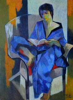 La Lectrice. Pierre Pivet (French, 1948-). Oil on canvas. Colours are of primordial importance in Pivet's work. The different chromatic tones he has retained from the Fauvist period contribute to the construction of image frames that fragment the canvas surface. Here, light assumes its full dimension and almost becomes the very breath of the work. #ARTEmisiaLegge @Libriamo Tutti http://www.libriamotutti.it/