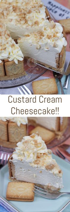 A Creamy, Sweet and Utterly Delicious No-Bake Custard Cream Cheesecake – perfect twist on a Delicious & Classic Biscuit! Recipe updated November 2018 I have. No Bake Desserts, Easy Desserts, Delicious Desserts, Dessert Recipes, Yummy Food, Snacks Recipes, Custard Cream Cheesecake, Cupcakes, Asian Desserts