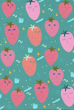 Anja Bartelt pattern strawberries illustration