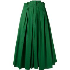 Rochas full pleated midi skirt ($880) ❤ liked on Polyvore featuring skirts, green, mid calf skirts, green pleated skirt, pleated skirt, knee length pleated skirt and rochas