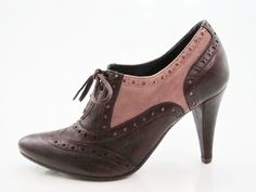brown and pink shoes