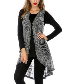 Take a look at this Gray Crocheted Tunic Vest by Lily on #zulily today!