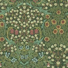 Lily Wallpaper, Wallpaper Online, Wallpaper Samples, Original Wallpaper, Fabric Wallpaper, Wallpaper Roll, Green Floral Wallpaper, Hallway Wallpaper, Chinoiserie Wallpaper