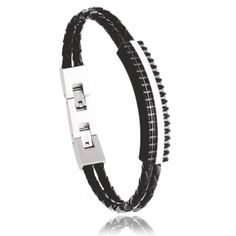 Snake Leather Black Steel Bracelet - Murat Paris