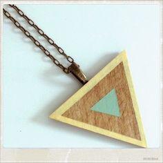 Mint Cream Triangle Wooden Pendant £12.00