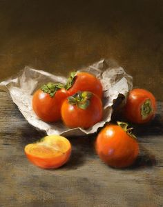 Winter Persimmons Painting by Robert Papp - Winter Persimmons Fine Art Prints and Posters for Sale