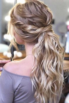 53 Best Ponytail Hairstyles { Low and High Ponytails } To Inspire , hairstyles weddinghair ponytails wedding hairstyles ponytail weddinghairstyles Prom hairstyle, easy ponytails, puff ponytails 602145412660750213 Wedding Ponytail Hairstyles, Ponytail Updo, Easy Hairstyles, Easy Homecoming Hairstyles, Ponytail For Wedding, Prom Hairstyles For Long Hair Curly, Date Night Hairstyles, Ponytail Bridal Hair, Winter Wedding Hairstyles