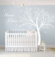Children's Tree Decal - Vinyl Wall Decals - nursery decals with Butterflies,TREE & name monogram. $135.00, via Etsy.