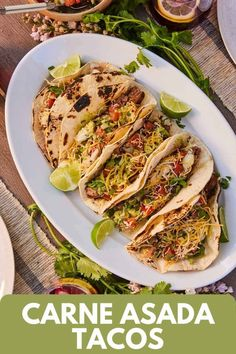 These Carne Asada Tacos are Mexican-inspired street tacos made with perfectly seared flank steak and all your favorite toppings! These are a perfect weeknight meal or make them up for your friends at your next party! #carneasada #tacos #weeknightmeals #partyfood Easy Potato Recipes, Yummy Chicken Recipes, Easy Delicious Recipes, Best Dinner Recipes, Lunch Recipes, Seafood Recipes, Pasta Recipes, Mexican Food Recipes, Beef Recipes