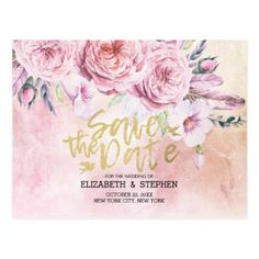 #Wedding Save The Date Watercolor Floral & Feathers Postcard - #country gifts style diy gift ideas