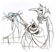 "Photo of Walt Disney Sketches - The Three Fates for fans of Walt Disney Characters. Walt Disney Sketch of The Three Fates from ""Hercules"" (1997)"