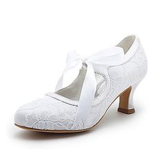 Best Selling Ivory Almond Toe Stiletto Heel Lace with Ribbon Tie Bridal Shoes.... so i absolutely adore these!