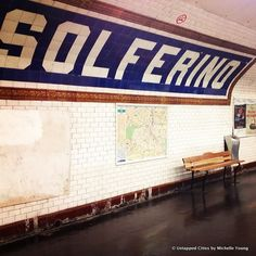 Catch a Glimpse of Old Paris in the Metro on Line You can still get a glimpse of the old Paris metro on line 12 and part of line with its wooden benches, porcelain tiles and directional signage. Directional Signage, Wayfinding Signage, Wooden Benches, Metro Subway, Paris Metro, Old Paris, Information Design, Porcelain Tiles, Metro Station