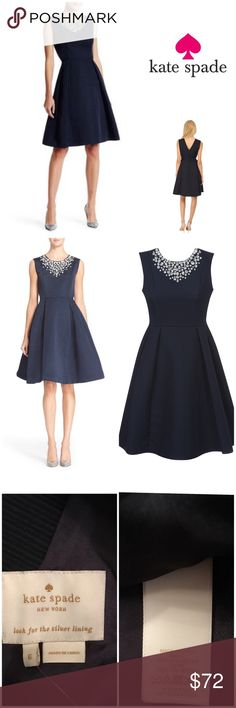 "New Kate Spade Embellished Cambria Navy Dress New Kate Spade Embellished Cambria Navy Fit & Flare Dress. Gorgeous!   Size: 6 Bust: 36"" Waist: 28"" Hips: 38"" Fully lined   Originally bought for a client, I'm currently cleaning out my client closets. Open to offers, especially on bundles. I give 15% off bundles of 3+. Shipping cost is the same with one or multiple items.   Free gift with every purchase! Your purchase goes towards the non-profit organization I'm founding! <3 kate spade Dresses"