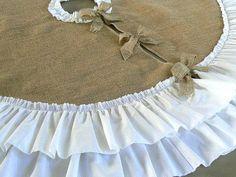 Christmas Tree Skirt   Burlap with  White Cotton Ruffles