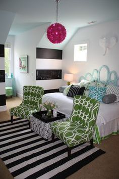 The HomeGoods ottoman and fab pillows complete this room. The black and white st… The HomeGoods ottoman and fab pillows complete this room. The black and white striped HomeGoods rug grounds it all. Dream Rooms, Dream Bedroom, Teen Bedroom, Bedroom Decor, Bedroom Ideas, Bright Pillows, Striped Walls, Striped Rug, My New Room